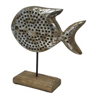 """11"""" Silver Foiled Wood Puranna Fish on Wood Stand"""