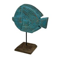 """11"""" Turquoise Washed Wood Puffer Fish on Wood Stand"""