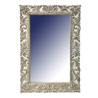 """36"""" x 24"""" Rectangular Mirror With Whitewashed Carved Frame"""