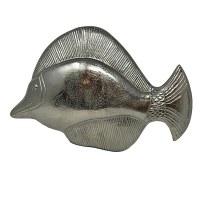 "15"" x 23"" Silver Metal Tropical Fish Wall Plaque"