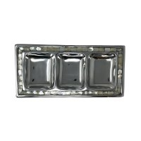 """7"""" x 14"""" Silver Metal and Mother of Pearl Triple Compartment Dish"""