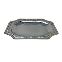 """11"""" x 15"""" Silver Metal and Mother of Pearl Serving Tray"""