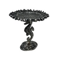 """8"""" Round Antique Silver Seahorse Pedestal With Pillar Candle Plate"""