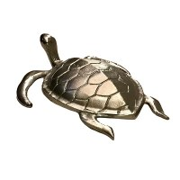 """17"""" Silver Metal Sea Turtle With Head Up"""