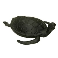 "17"" Verdigris Metal Sea Turtle With Head Up"