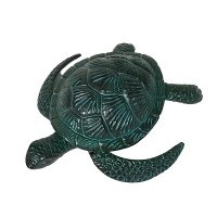 """10"""" Verdigris Metal Sea Turtle Paperweight"""