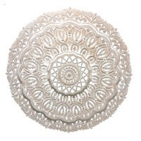 """48"""" Round Whitewashed Carved Wood Wall Medallion"""