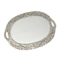 """16"""" x 23"""" Oval Whitewashed Gray Wood Floral Border Tray"""