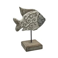 """13"""" Whitewashed Wood Butter Fish With Curl Design and Stand"""
