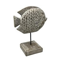 """13"""" Whitewashed Wood Angelfish With Stand"""