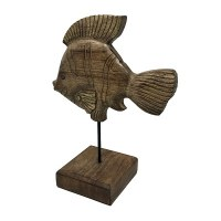 """13"""" Gold Foiled Brown Wood Clown Fish With Stand"""