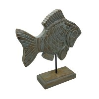 """12"""" Gray Washed Brown Wood Fish on Stand"""