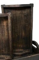 """10"""" x 17"""" Dark Brown Wood Tray With Curved Handles"""