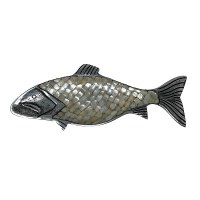 """16"""" Mother of Pearl and Silver Metal Fish Wall Plaque"""