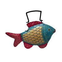 """14"""" Red, Blue and Yellow Metal Fish Shaped Watering Can"""