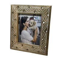 """8"""" x 10"""" Whitewashed Brown Carved Wood Picture Frame"""