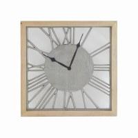 "17"" Square Mango Wood and Metal Lifetime Wall Clock"