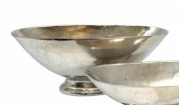"""20"""" Oval Silver Metal Footed Bowl"""