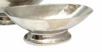 """16"""" Oval Silver Metal Footed Bowl"""