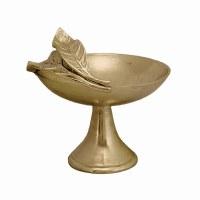"12"" Round Gold Metal Pedestal Bowl With Leaf Handle"