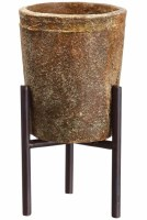"""7"""" Terracotta Cement Pot With Brown Metal Stand"""