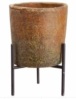 """9"""" Terracotta Cement Pot With Brown Metal Stand"""