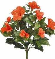 """19"""" Faux Orange Hibiscus Bush"""