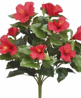 """19"""" Faux Red Loose Hibiscus Bush"""