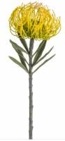 "14"" Faux Yellow Pin Cushion Protea Spray"