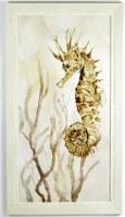 "45"" x 25"" Brown Spiky Seahorse Gel Textured Print in White Frame"