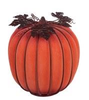 "10"" LED Orange Glass Pumpkin"