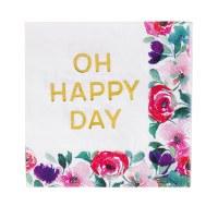 "5"" Square Gold Foil Oh Happy Day Floral Border Beverage Napkin"