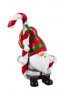 """5"""" Red, Green and White Polyresin Gnome With Candy Cane"""