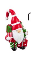 """5"""" Red, Green and White Polyresin Gnome With Presents"""