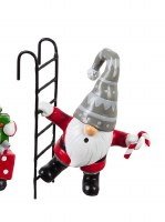 """5"""" Red, White and Gray Polyresin Gnome With a Ladder and Candy Cane"""