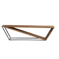 """68"""" Light Wood and Black Metal Abstract Triangle Bench"""