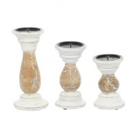 """Set of 3 4"""" Round Distressed White and Brown Crackle Wood Pillar Candle Holders"""