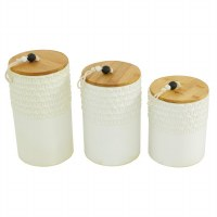 """Set of 3 5"""" Round White Stoneware Canisters With Natural Wood Lids"""