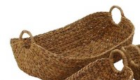 """23"""" Oval Natural Seagrass Basket With Round Handles"""