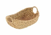 """16"""" Oval Natural Seagrass Basket With Round Handles"""