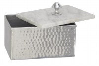 """5"""" x 7"""" Silver Metal Box With White Marble Top"""