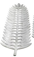 """27"""" x 8"""" Silver Metal Frond Shaped Decorative Tray"""