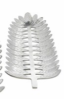"""18"""" x 7"""" Silver Metal Frond Shaped Decorative Tray"""