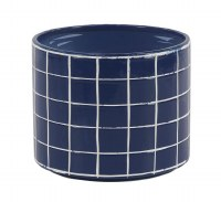"""12"""" Round Dark Blue Ceramic White Grid Pattern Pot"""
