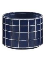 """10"""" Round Dark Blue Ceramic White Grid Pattern Pot"""