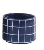 """8"""" Round Dark Blue Ceramic White Grid Pattern Pot"""