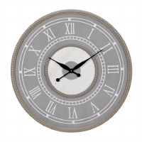 """30"""" Round Distressed Gray and White Beaded Rim Wall Clock"""
