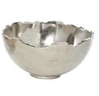 "14"" Round Silver Metal Jagged Edge Bowl"