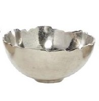 "12"" Round Silver Metal Jagged Edge Bowl"