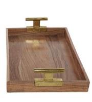 "19"" x 12""  Acacia Wood Tray With Gold Pull Handles"
